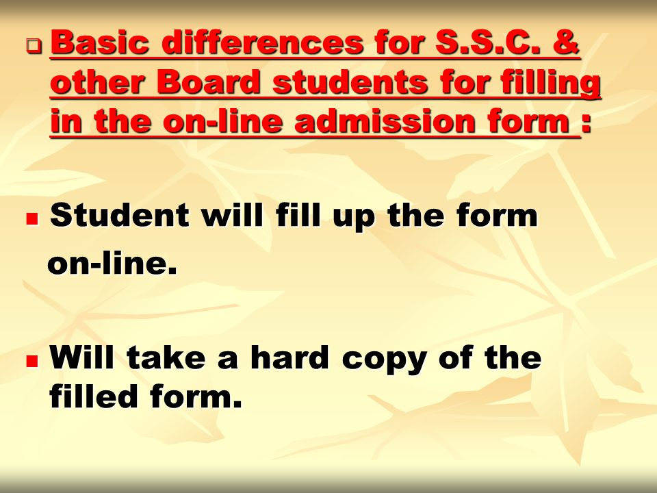 Basic differences for S. S. C