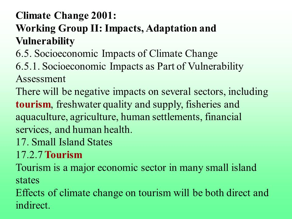 Climate Change 2001: Working Group II: Impacts, Adaptation and Vulnerability
