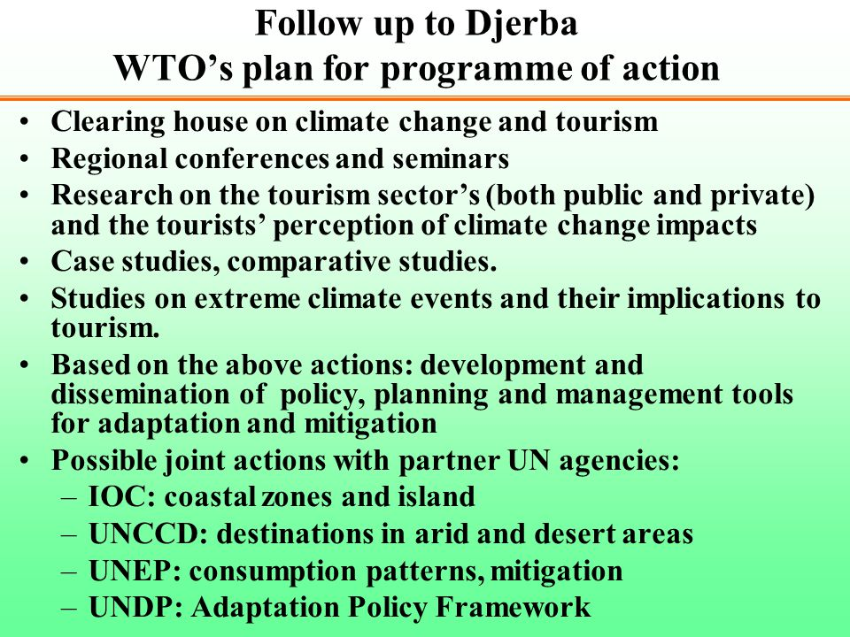 Follow up to Djerba WTO's plan for programme of action