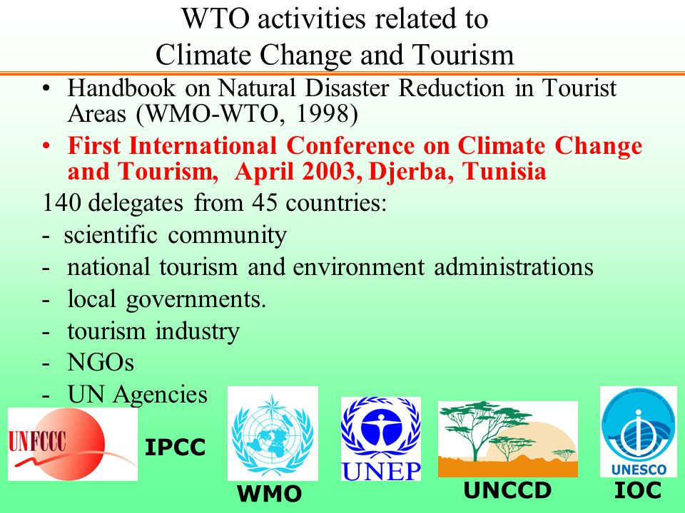 WTO activities related to Climate Change and Tourism