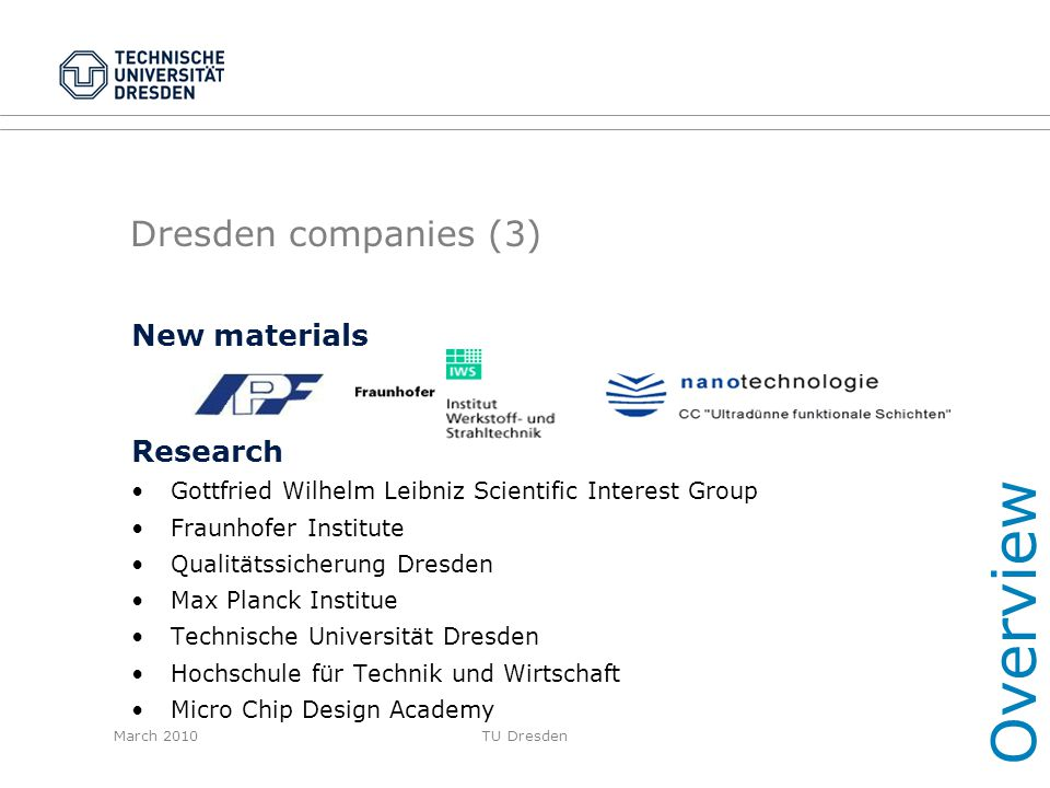 Overview Dresden companies (3) New materials Research
