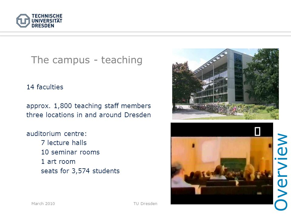 Overview ¸ The campus - teaching 14 faculties