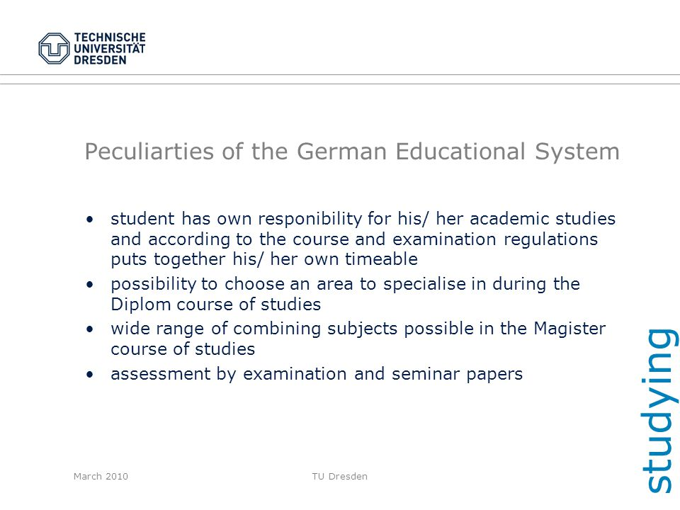 Peculiarties of the German Educational System
