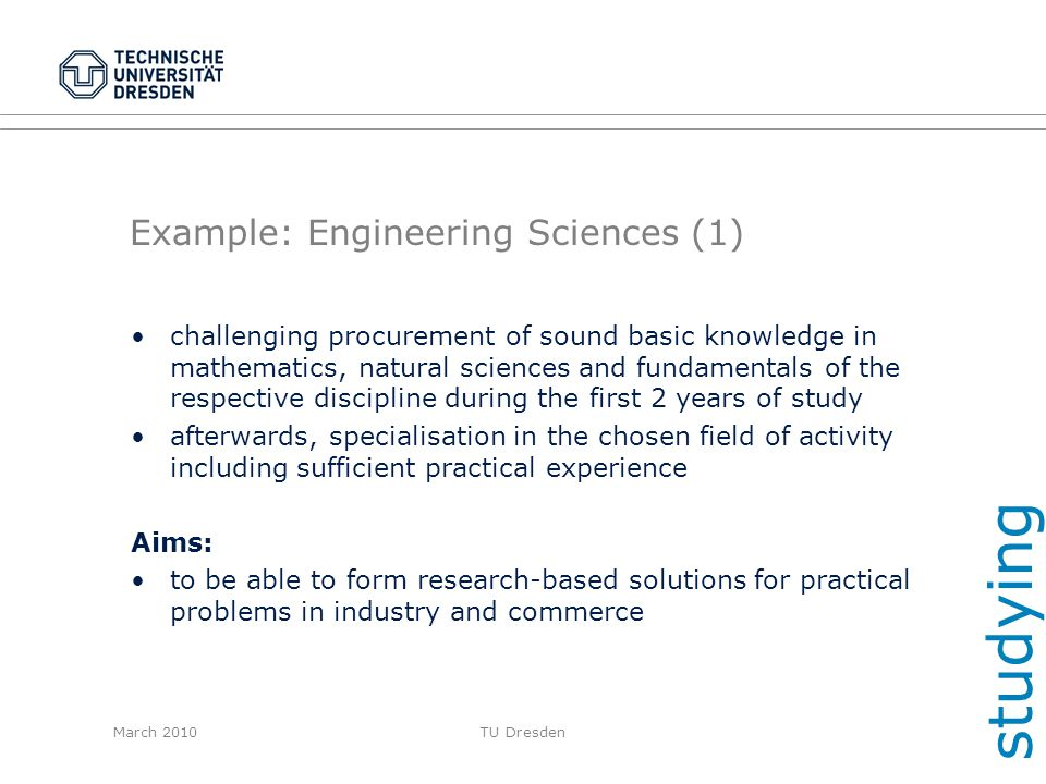 Example: Engineering Sciences (1)