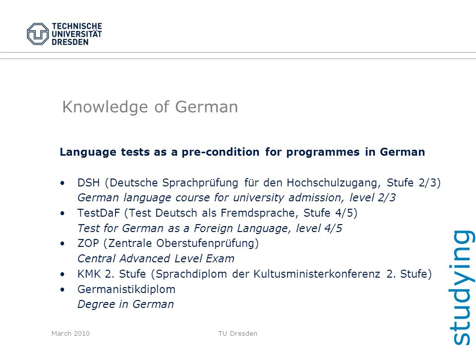 studying Knowledge of German