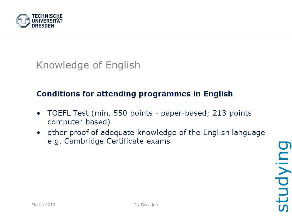 studying Knowledge of English