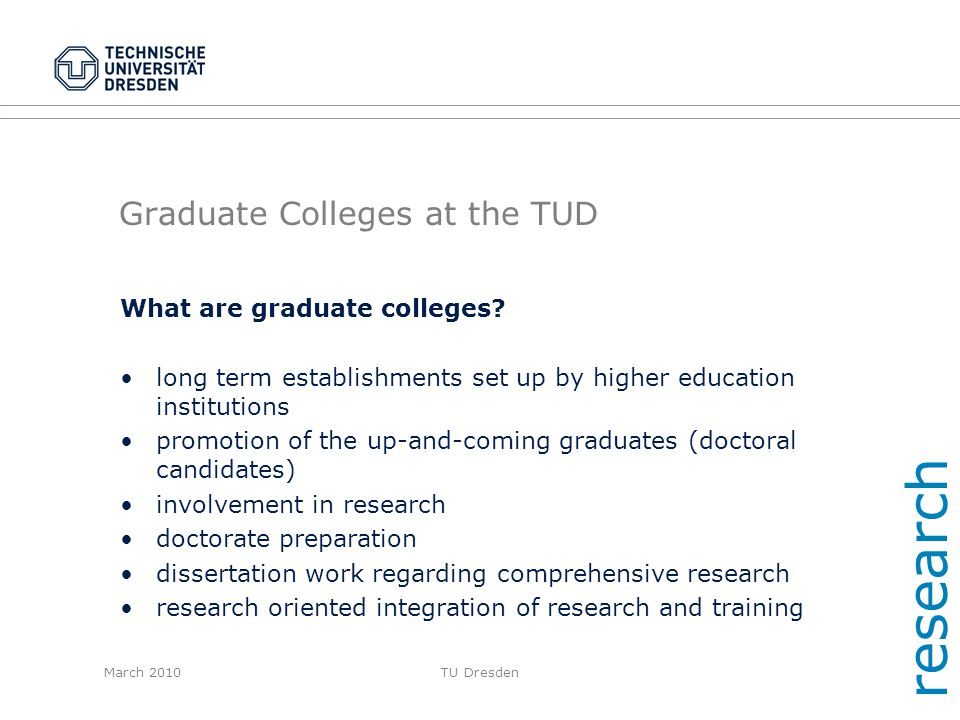 Graduate Colleges at the TUD