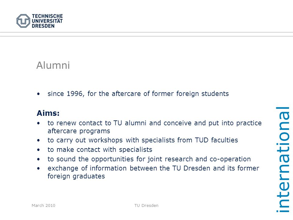 international Alumni Aims:
