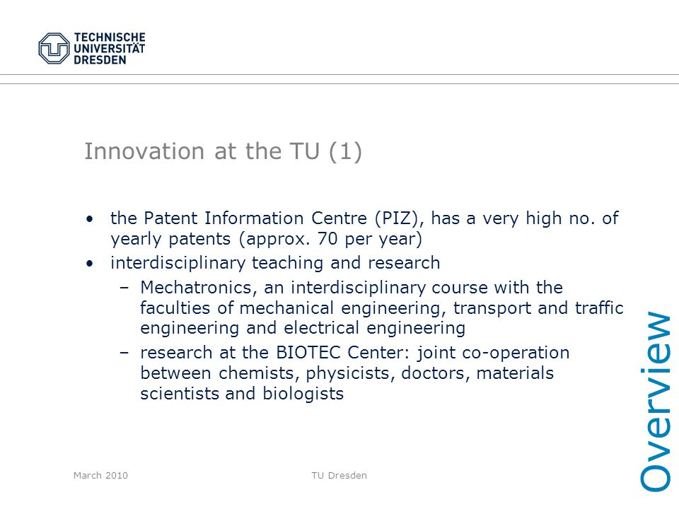 Overview Innovation at the TU (1)