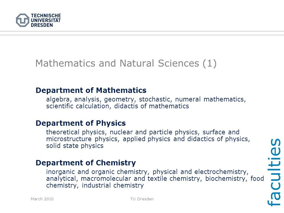 Mathematics and Natural Sciences (1)