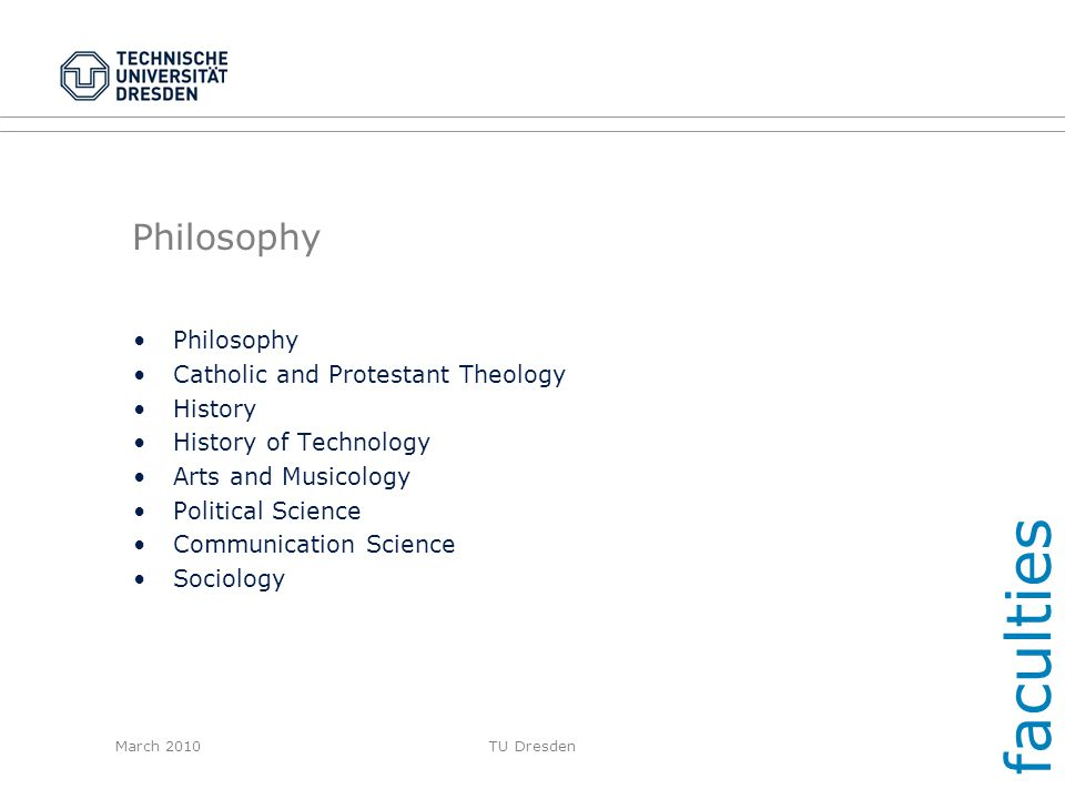 faculties Philosophy Philosophy Catholic and Protestant Theology