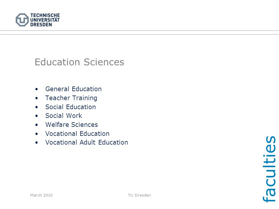 faculties Education Sciences General Education Teacher Training