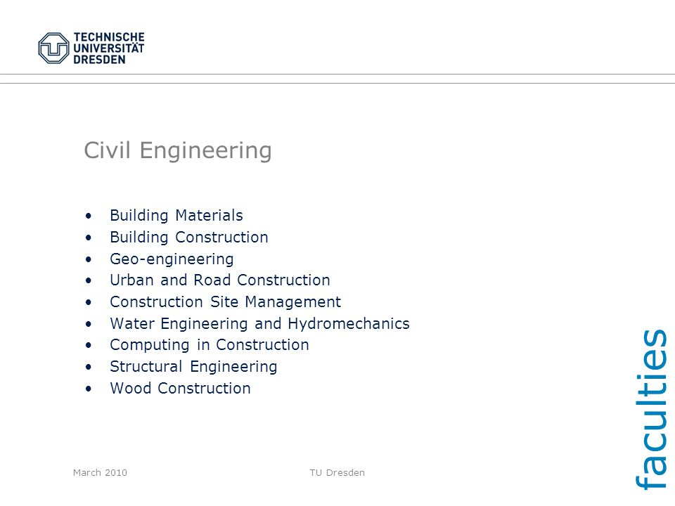 faculties Civil Engineering Building Materials Building Construction