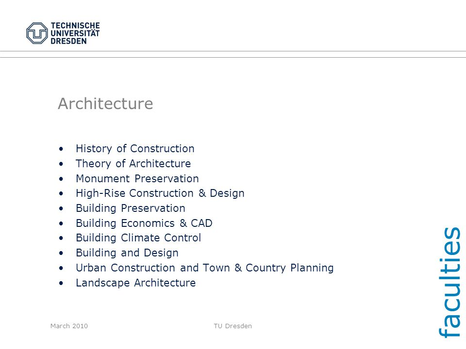 faculties Architecture History of Construction Theory of Architecture