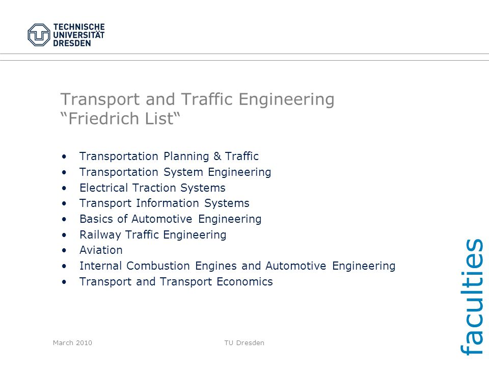 Transport and Traffic Engineering Friedrich List