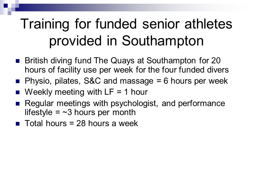 Training for funded senior athletes provided in Southampton