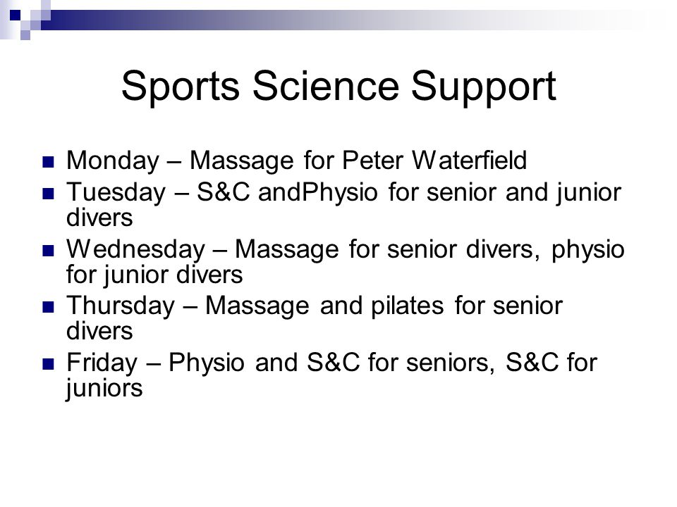 Sports Science Support