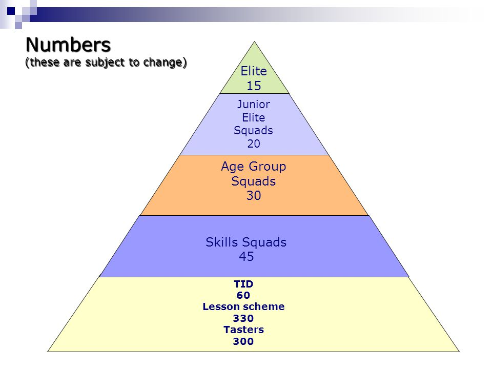 Numbers Elite 15 Age Group Squads 30 Skills Squads 45