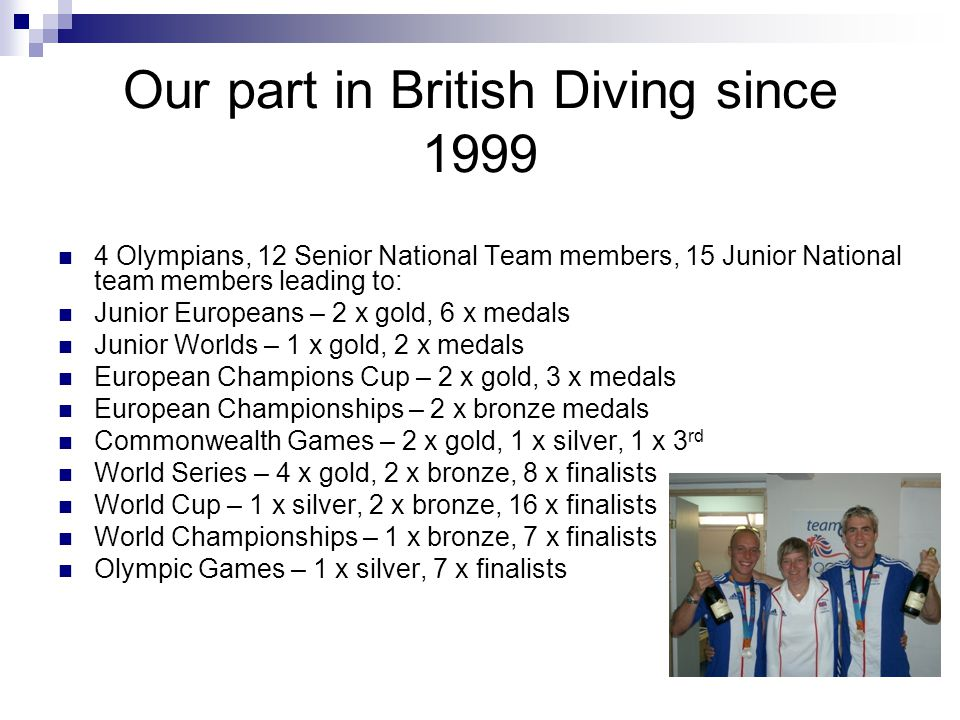 Our part in British Diving since 1999
