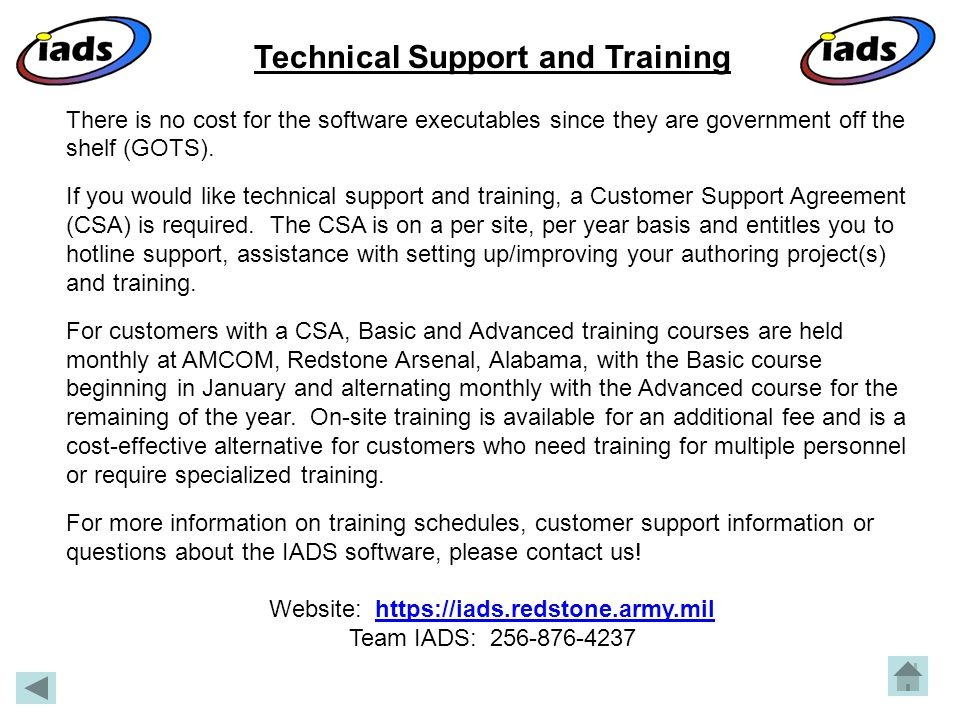 Technical Support and Training