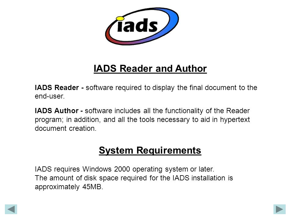 IADS Reader and Author System Requirements
