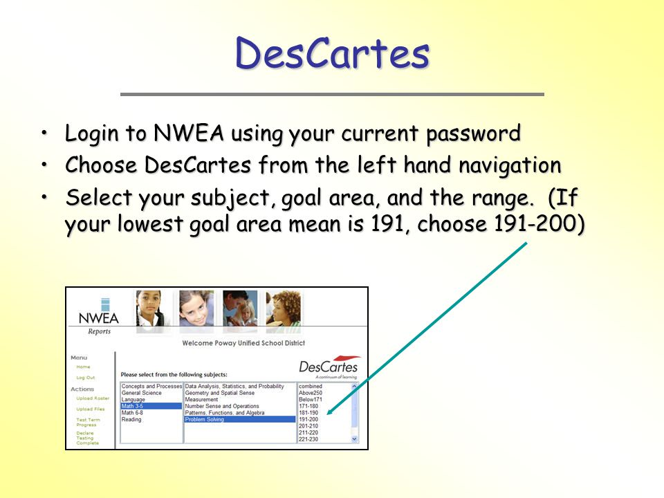 DesCartes Login to NWEA using your current password