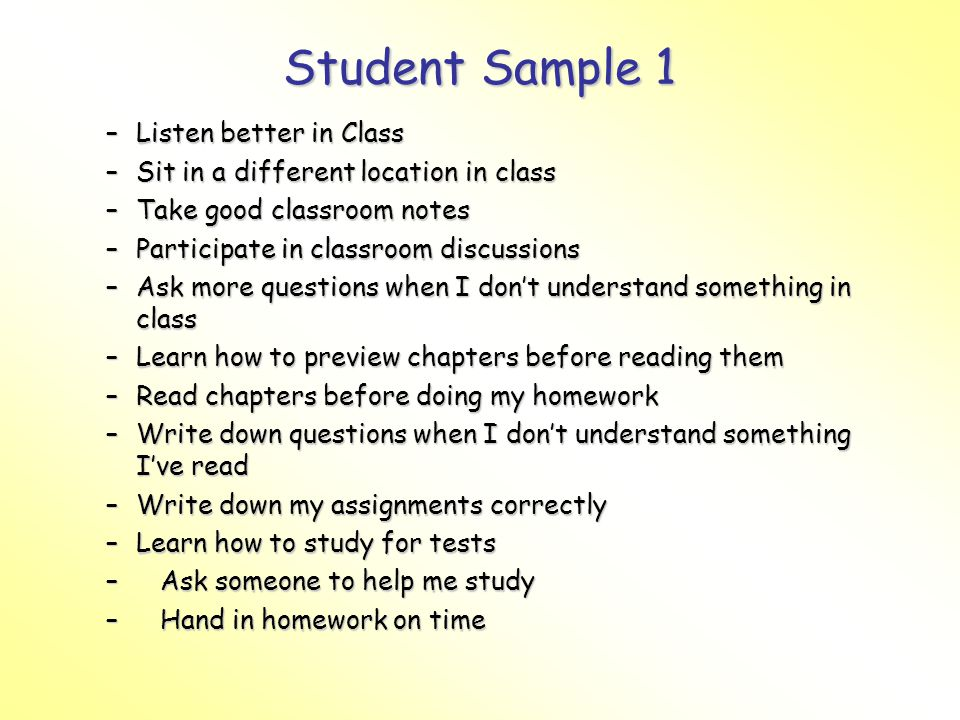 Student Sample 1 Listen better in Class