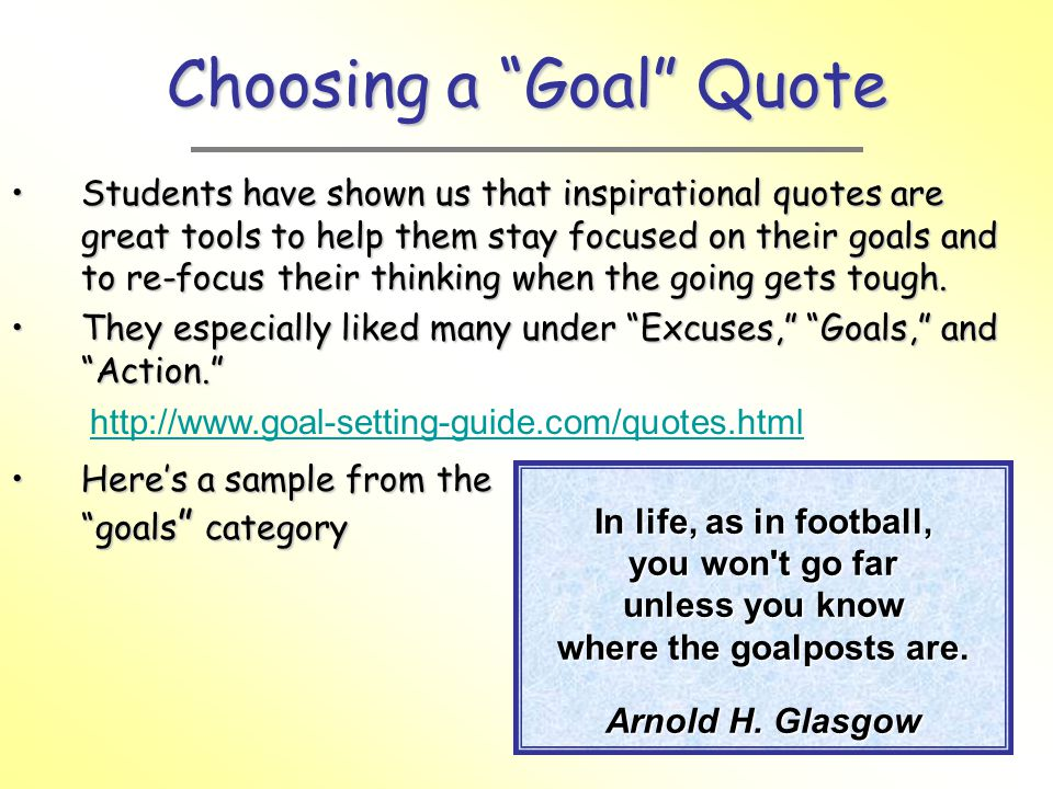 Choosing a Goal Quote