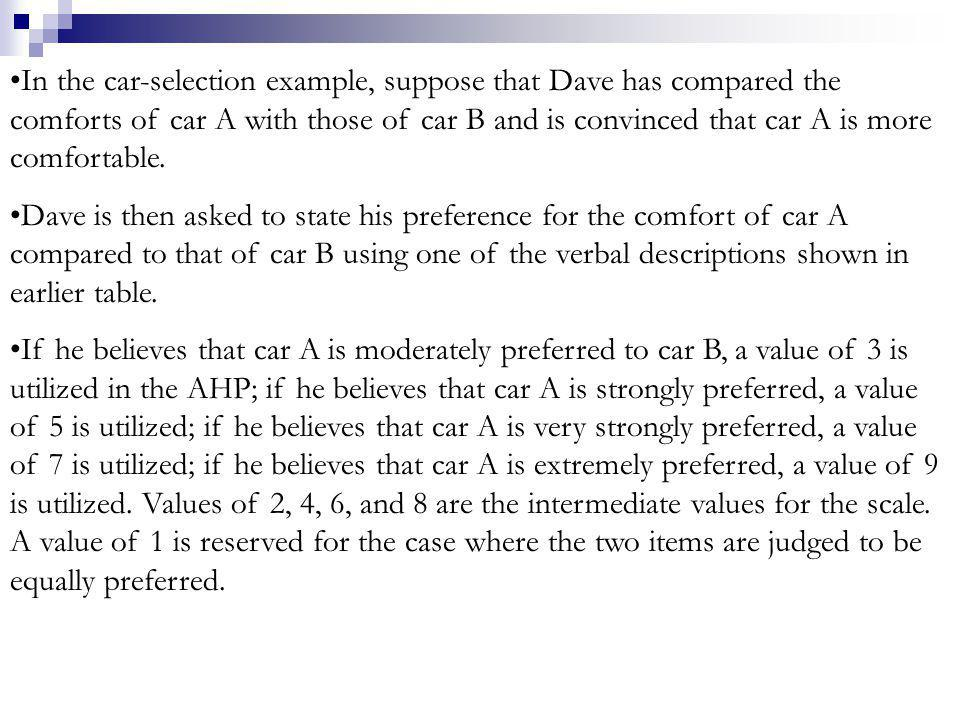 In the car-selection example, suppose that Dave has compared the comforts of car A with those of car B and is convinced that car A is more comfortable.