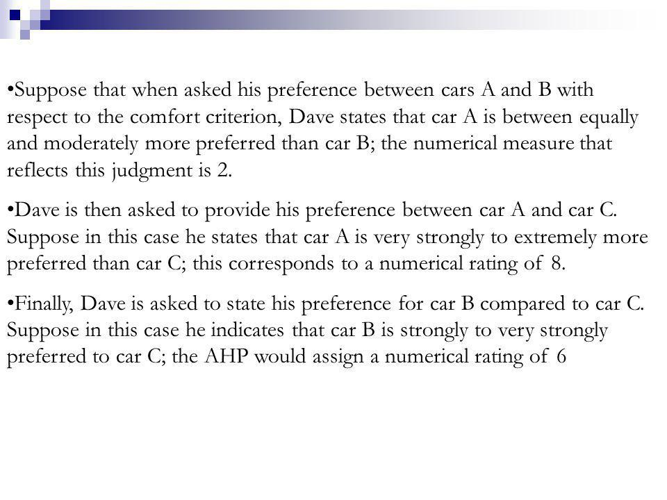 Suppose that when asked his preference between cars A and B with respect to the comfort criterion, Dave states that car A is between equally and moderately more preferred than car B; the numerical measure that reflects this judgment is 2.