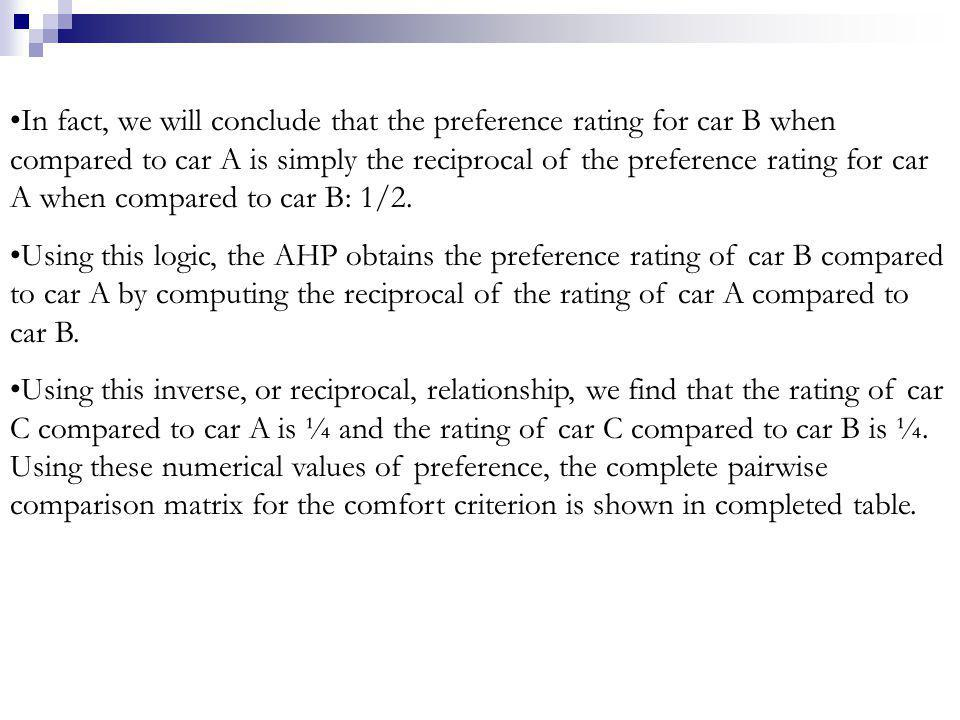 In fact, we will conclude that the preference rating for car B when compared to car A is simply the reciprocal of the preference rating for car A when compared to car B: 1/2.