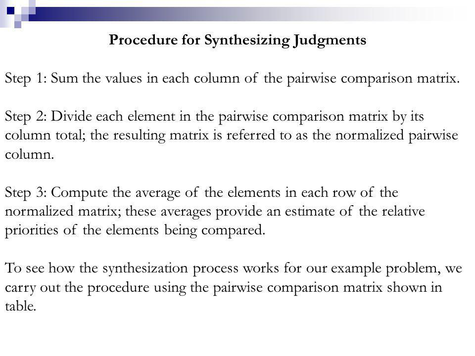 Procedure for Synthesizing Judgments