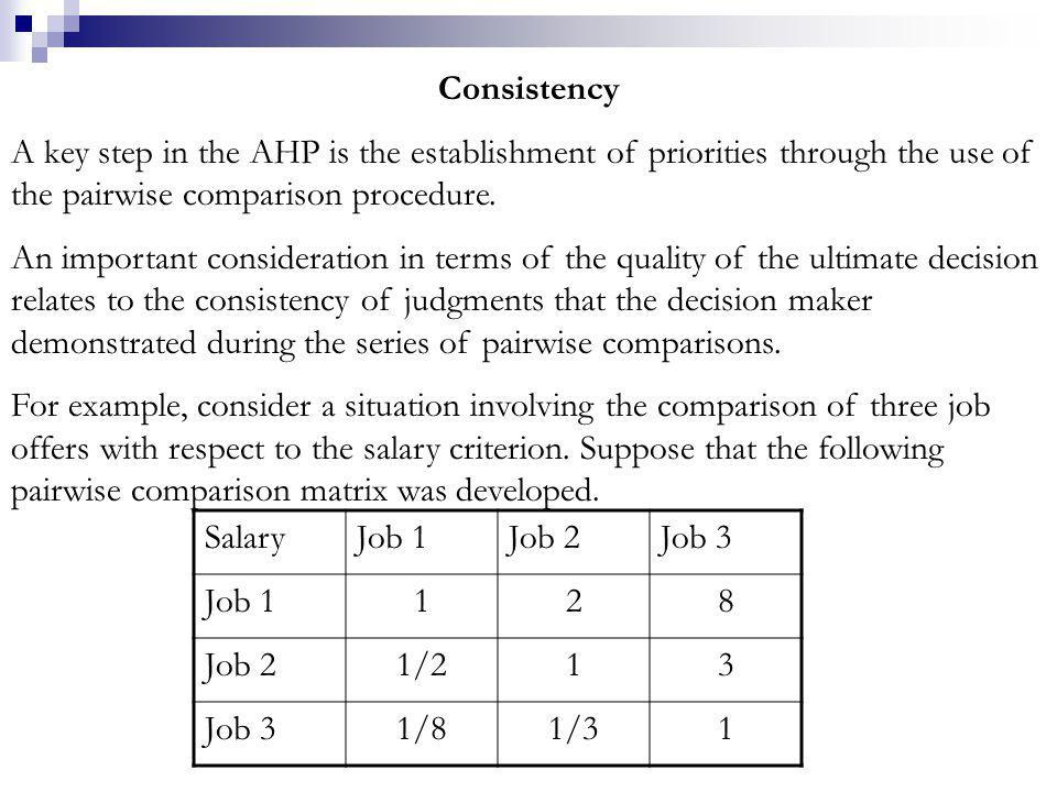 Consistency A key step in the AHP is the establishment of priorities through the use of the pairwise comparison procedure.