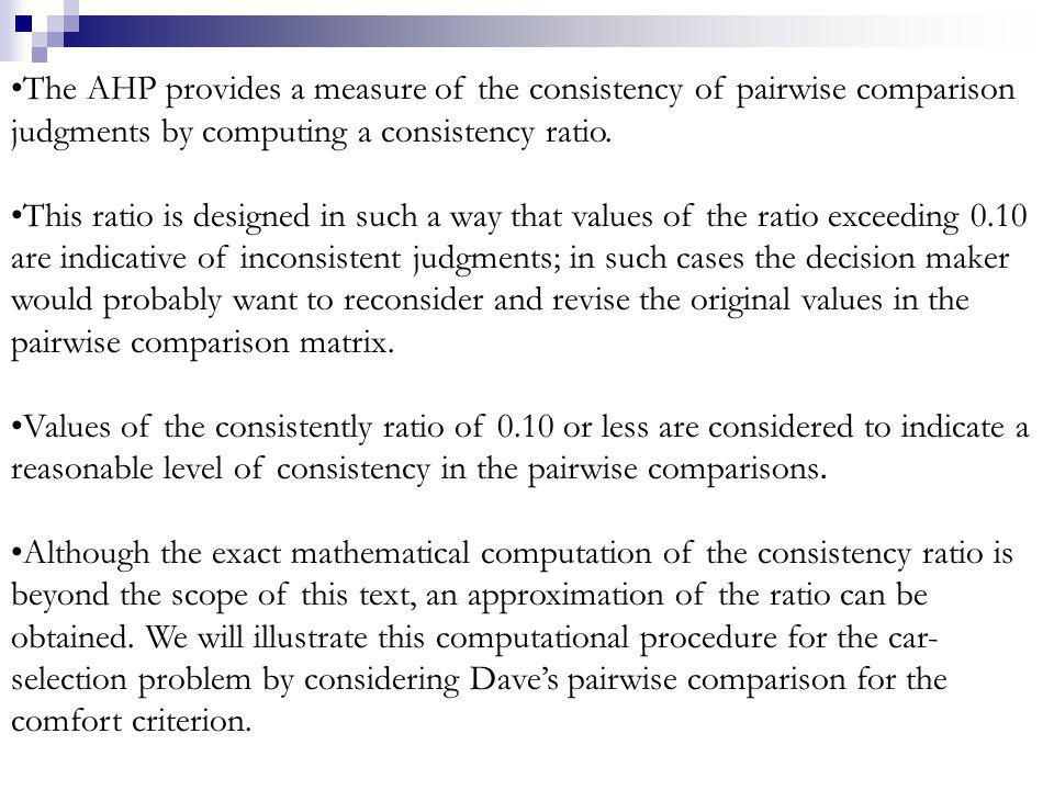 The AHP provides a measure of the consistency of pairwise comparison judgments by computing a consistency ratio.