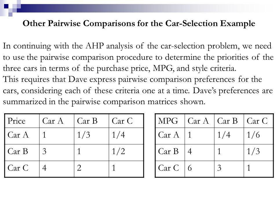 Other Pairwise Comparisons for the Car-Selection Example