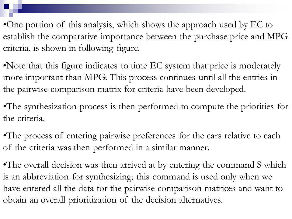 One portion of this analysis, which shows the approach used by EC to establish the comparative importance between the purchase price and MPG criteria, is shown in following figure.