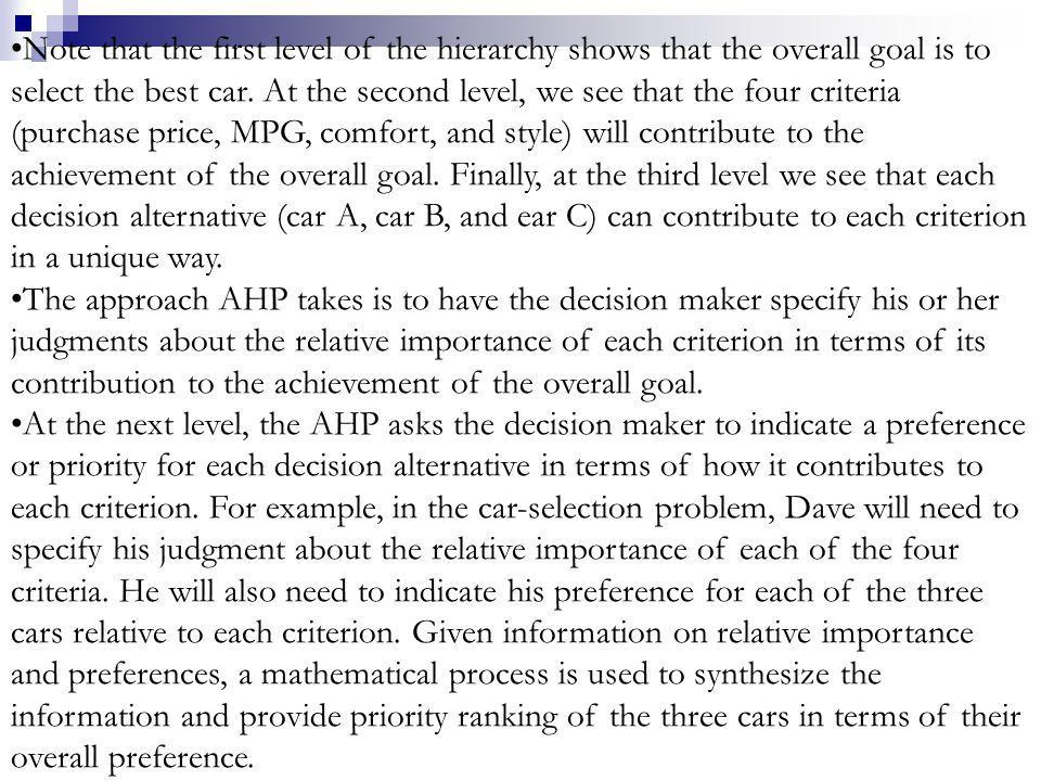 Note that the first level of the hierarchy shows that the overall goal is to select the best car. At the second level, we see that the four criteria (purchase price, MPG, comfort, and style) will contribute to the achievement of the overall goal. Finally, at the third level we see that each decision alternative (car A, car B, and ear C) can contribute to each criterion in a unique way.