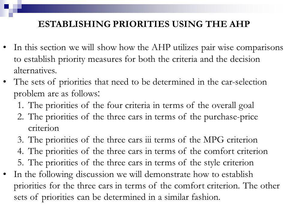 ESTABLISHING PRIORITIES USING THE AHP