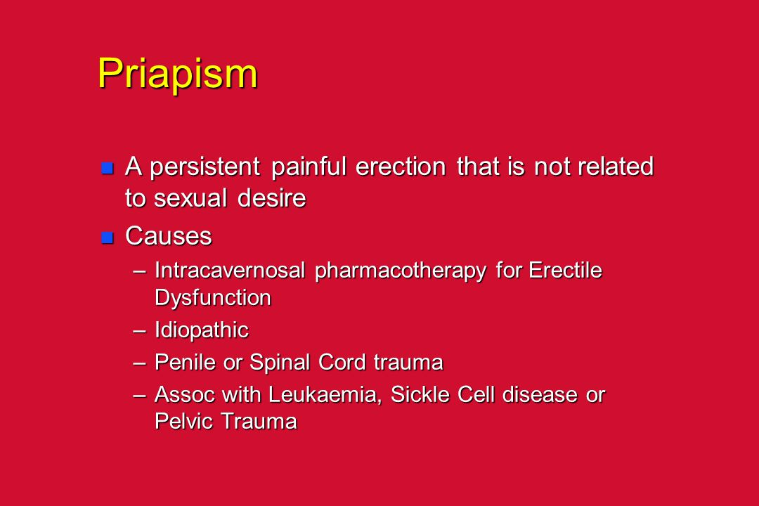 Priapism A persistent painful erection that is not related to sexual desire. Causes. Intracavernosal pharmacotherapy for Erectile Dysfunction.