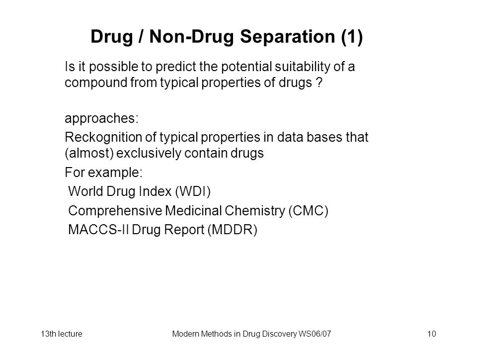 Drug / Non-Drug Separation (1)