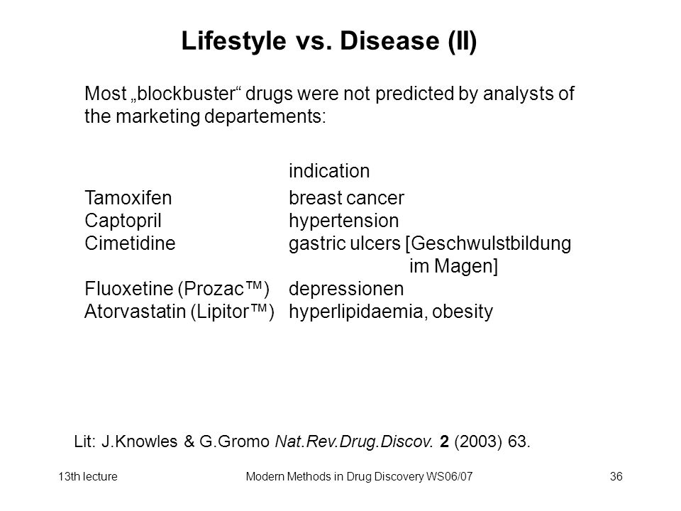Lifestyle vs. Disease (II)