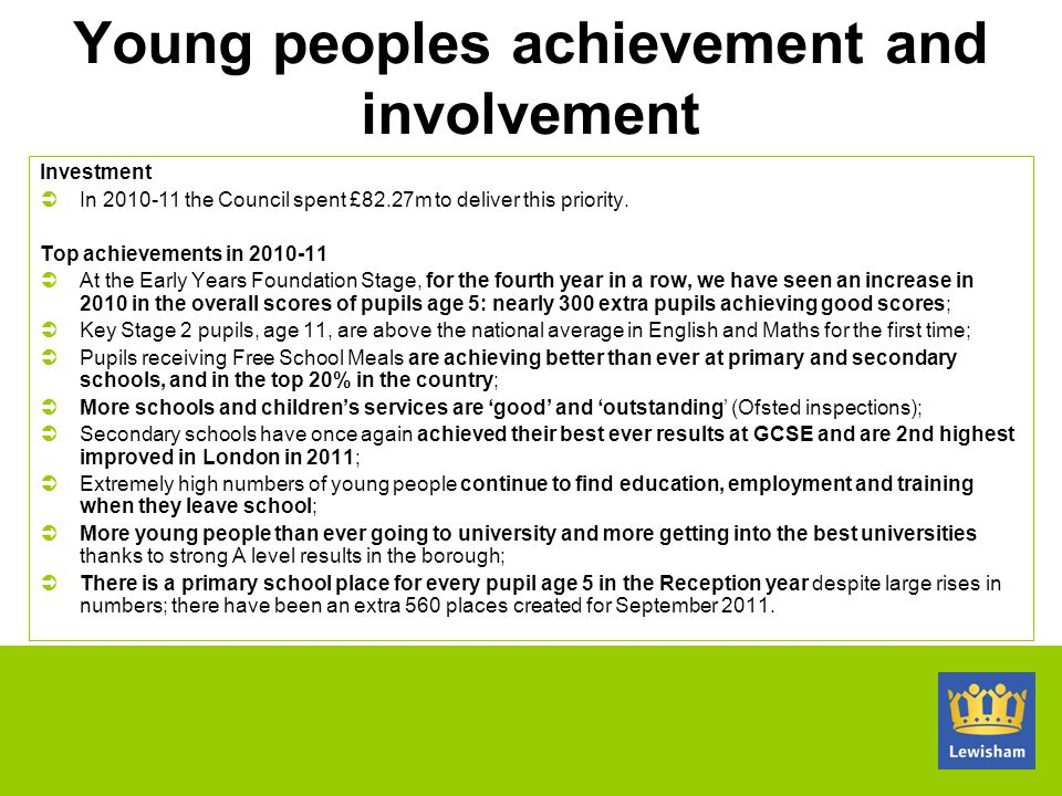 Young peoples achievement and involvement