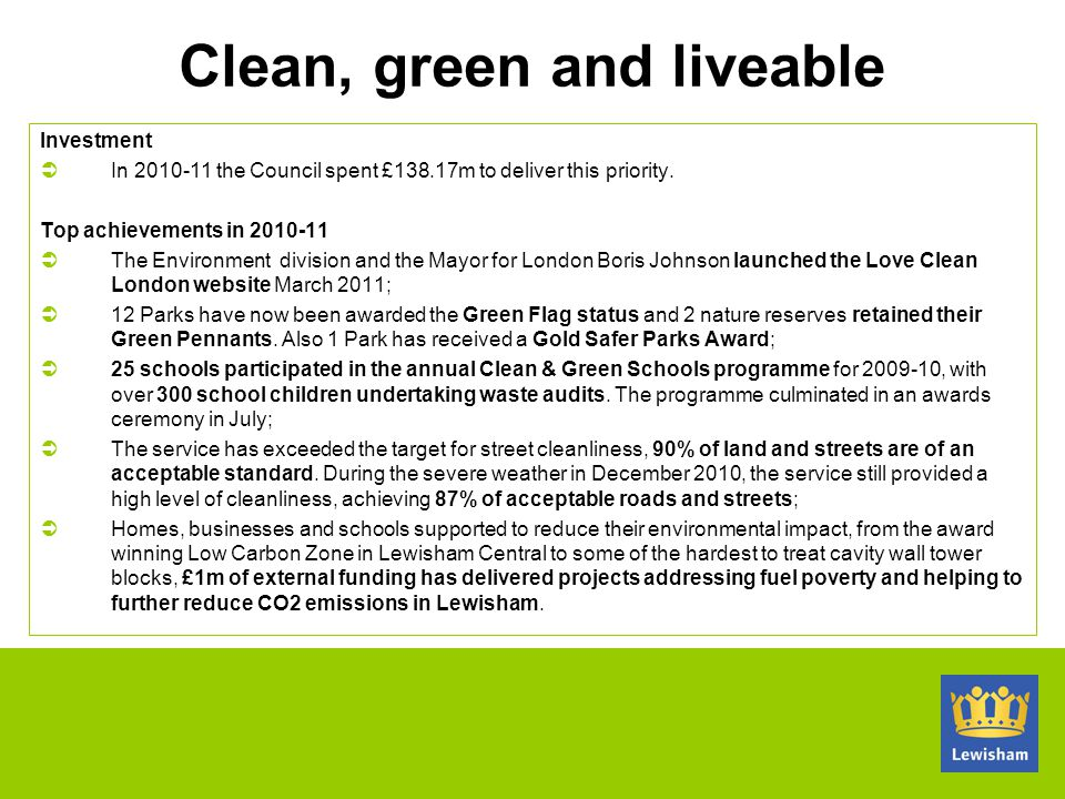 Clean, green and liveable