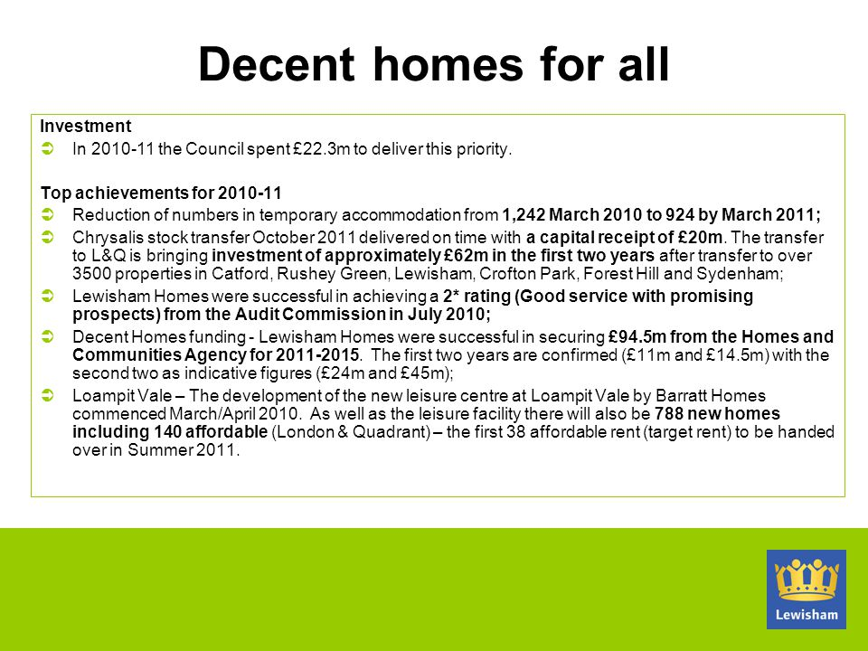 Decent homes for all Investment
