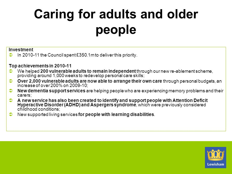 Caring for adults and older people