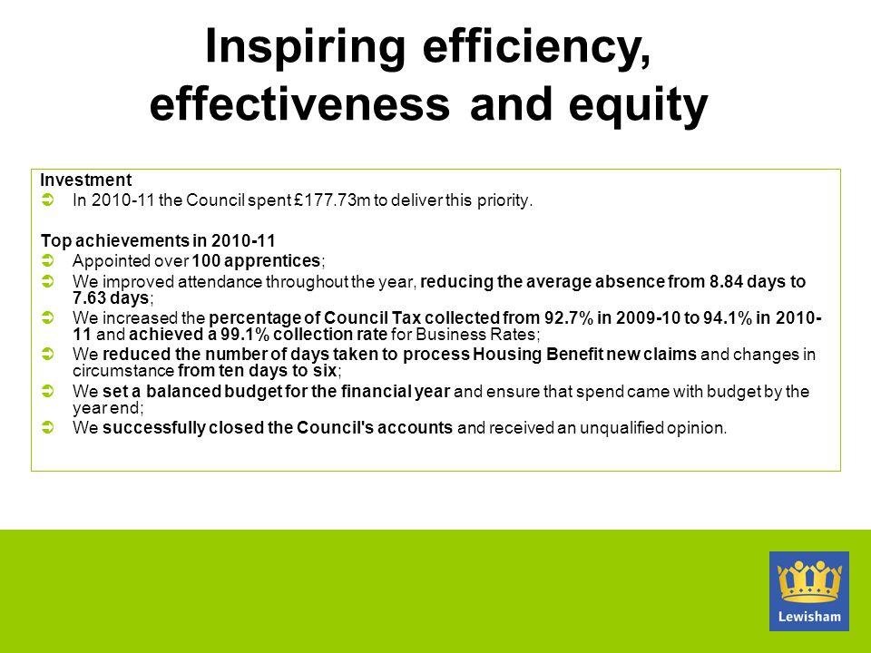 Inspiring efficiency, effectiveness and equity