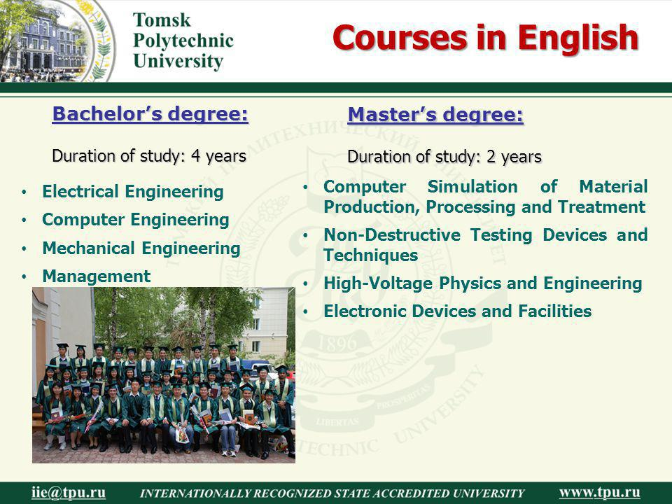 Courses in English Bachelor's degree: Master's degree:
