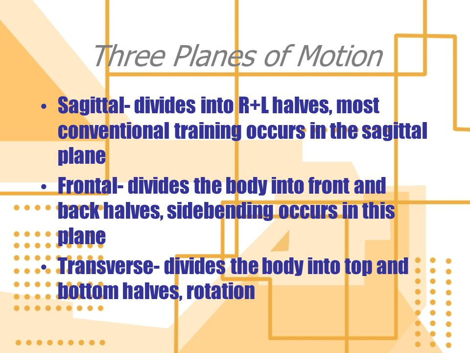 Three Planes of Motion Sagittal- divides into R+L halves, most conventional training occurs in the sagittal plane.