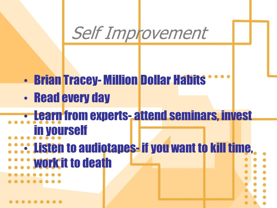 Self Improvement Brian Tracey- Million Dollar Habits Read every day