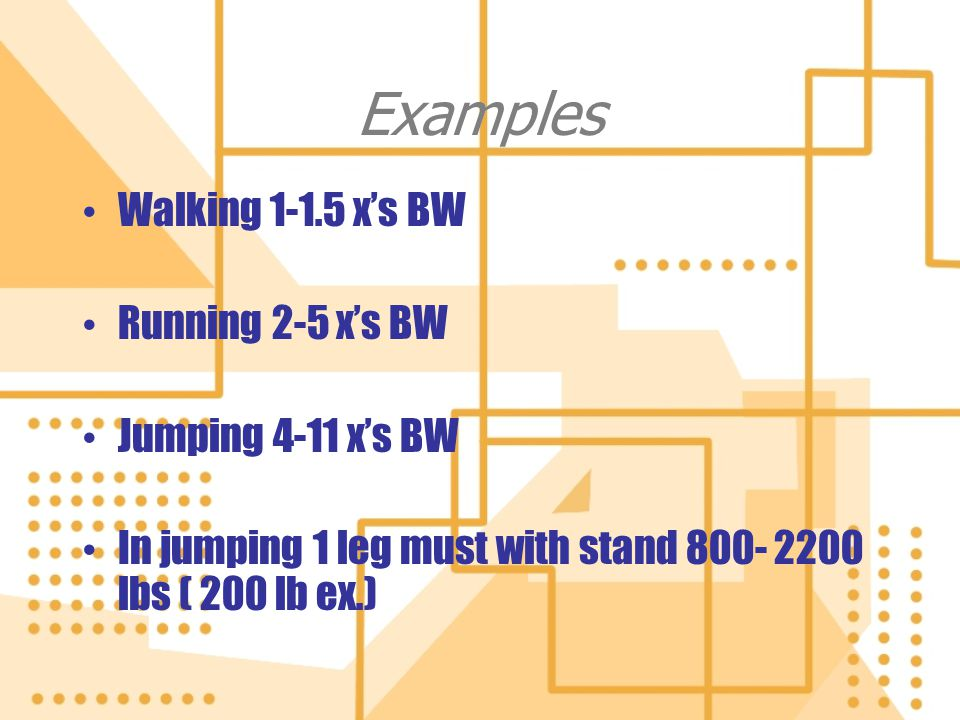 Examples Walking 1-1.5 x's BW Running 2-5 x's BW Jumping 4-11 x's BW